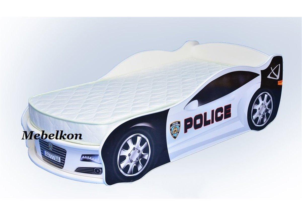 Кровать машина Ягуар Полиция 70х150 с подъемным механизмом без матраса без спойлера MebelKon