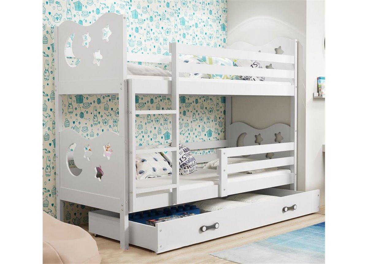 Двухъярусная кровать + 2 матраса + 1 ящик + бортик MIKOBunk BMS Group 80x160