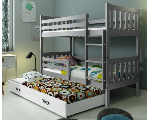Двухъярусная кровать + доп. место + 3 матраса + бортик CARINO Triple BMS Group 80x190