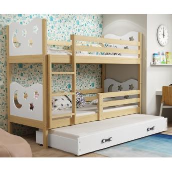 Двухъярусная кровать + доп. место + 3 матраса + бортик  MIKOTriple BMS Group 80x190