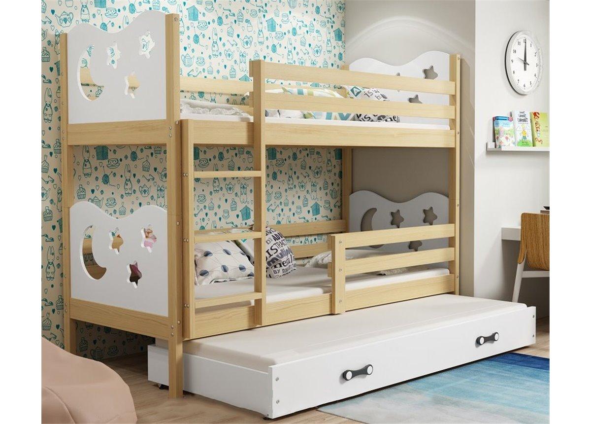Двухъярусная кровать + доп. место + 3 матраса + бортик  MIKOTriple BMS Group 90x200