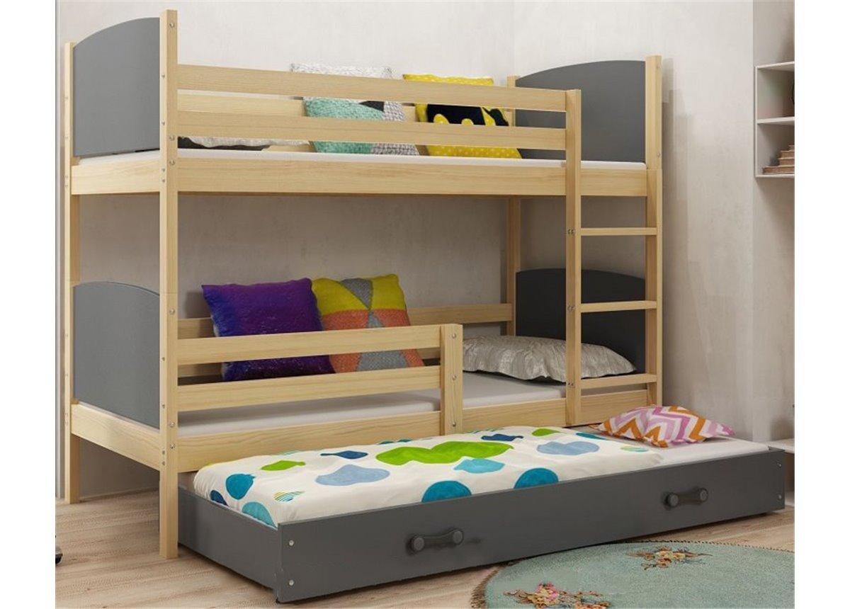 Двухъярусная кровать + доп. место + 3 матраса + бортик TAMITriple BMS Group 80x190