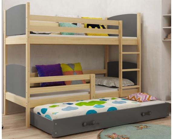 Двухъярусная кровать + доп. место + 3 матраса + бортик TAMI Triple BMS Group 90x200