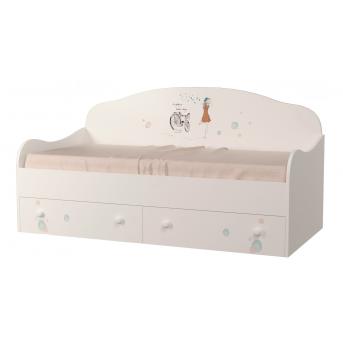 Кроватка диванчик Гламур с ящиком и бортиком MebelKon 80x190
