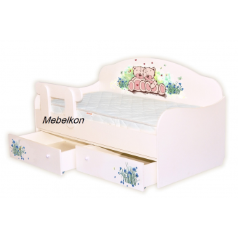 Кроватка Диванчик Мишки/васильки 90х190 MebelKon