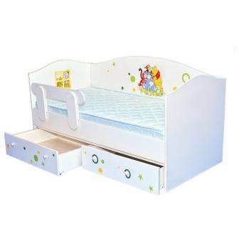 Кроватка домик Винни 2 с ящиком и бортиком MebelKon 170x80