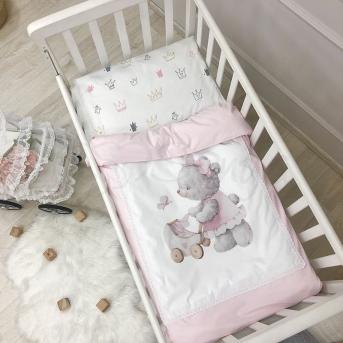 Сменный комплект постельного белья Kids toys Мишка розовый Маленькая Соня