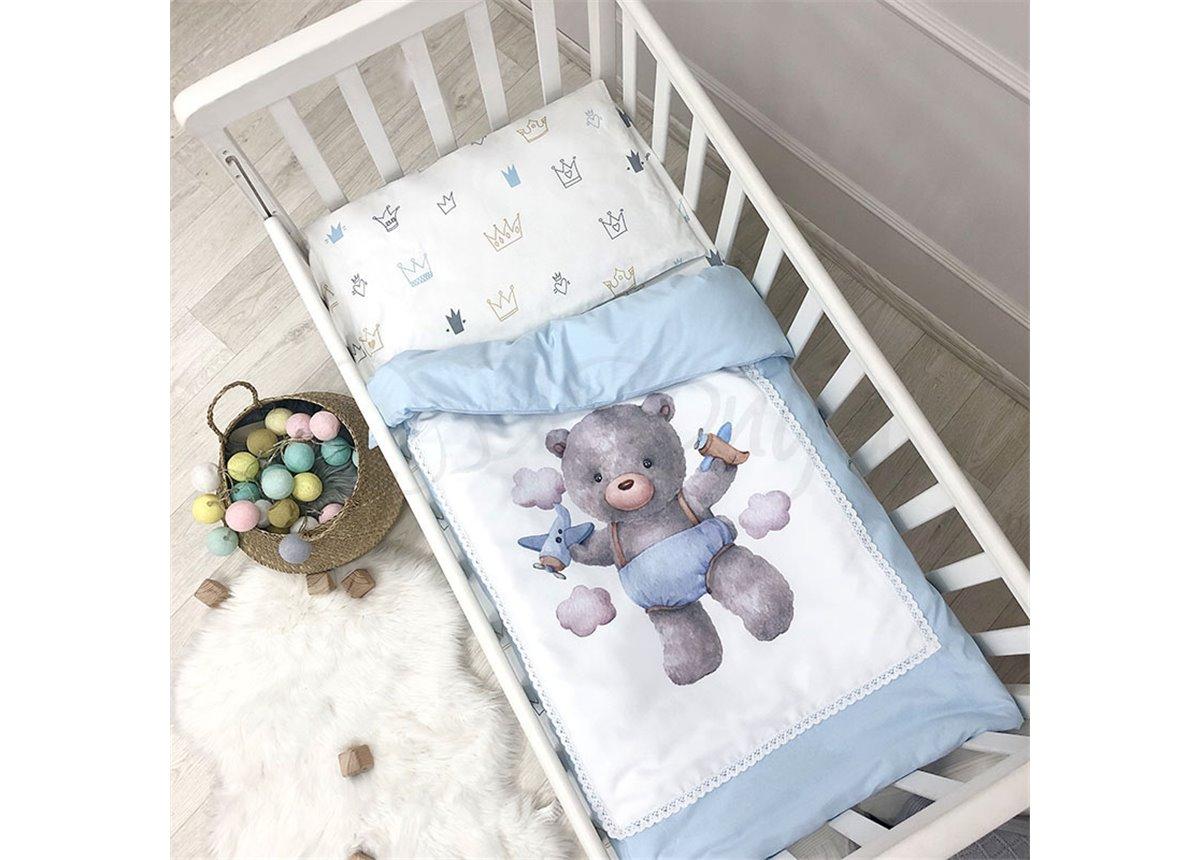 Сменный комплект постельного белья Kids toys Мишка голубой Маленькая Соня