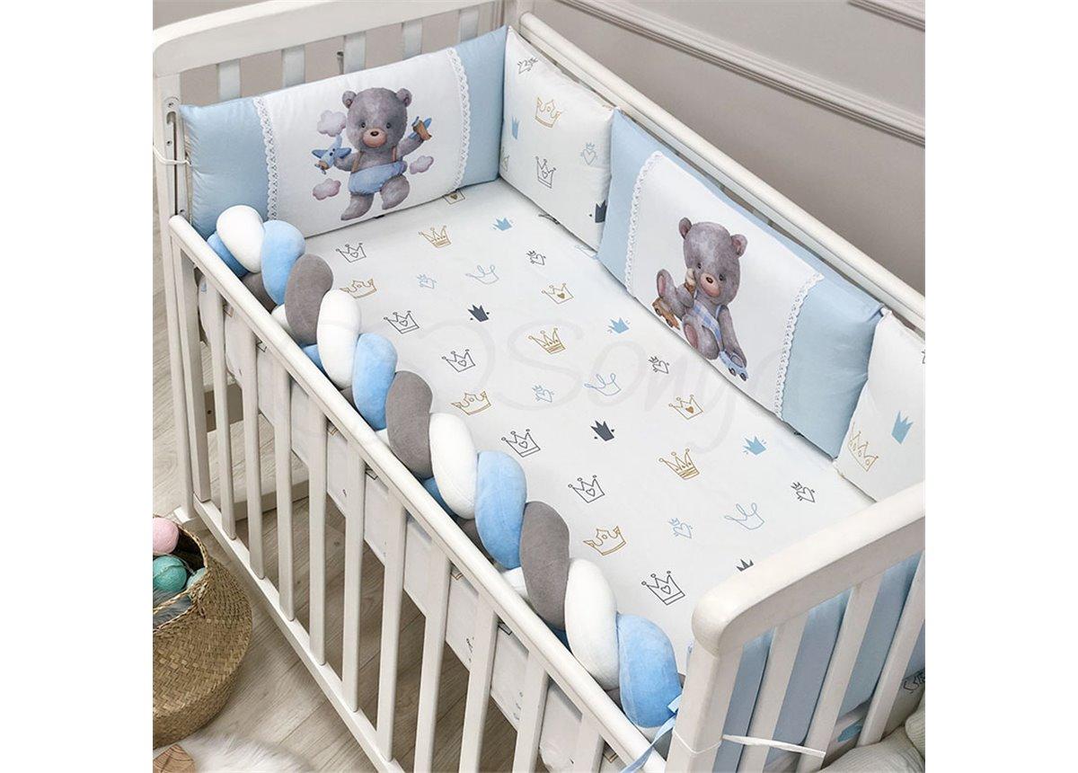 Защита Kids toys + простынь Мишка голубой Маленькая Соня