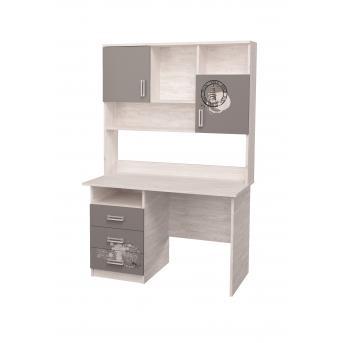 Стол с надстройкой и рисунком Дуб шервуд/Антрацит MebelKon