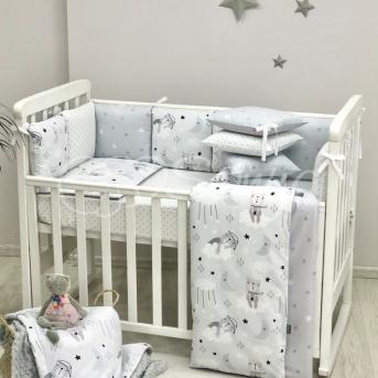 Комплект Baby Design Коты в облаках серый (6 предметов) Маленькая Соня