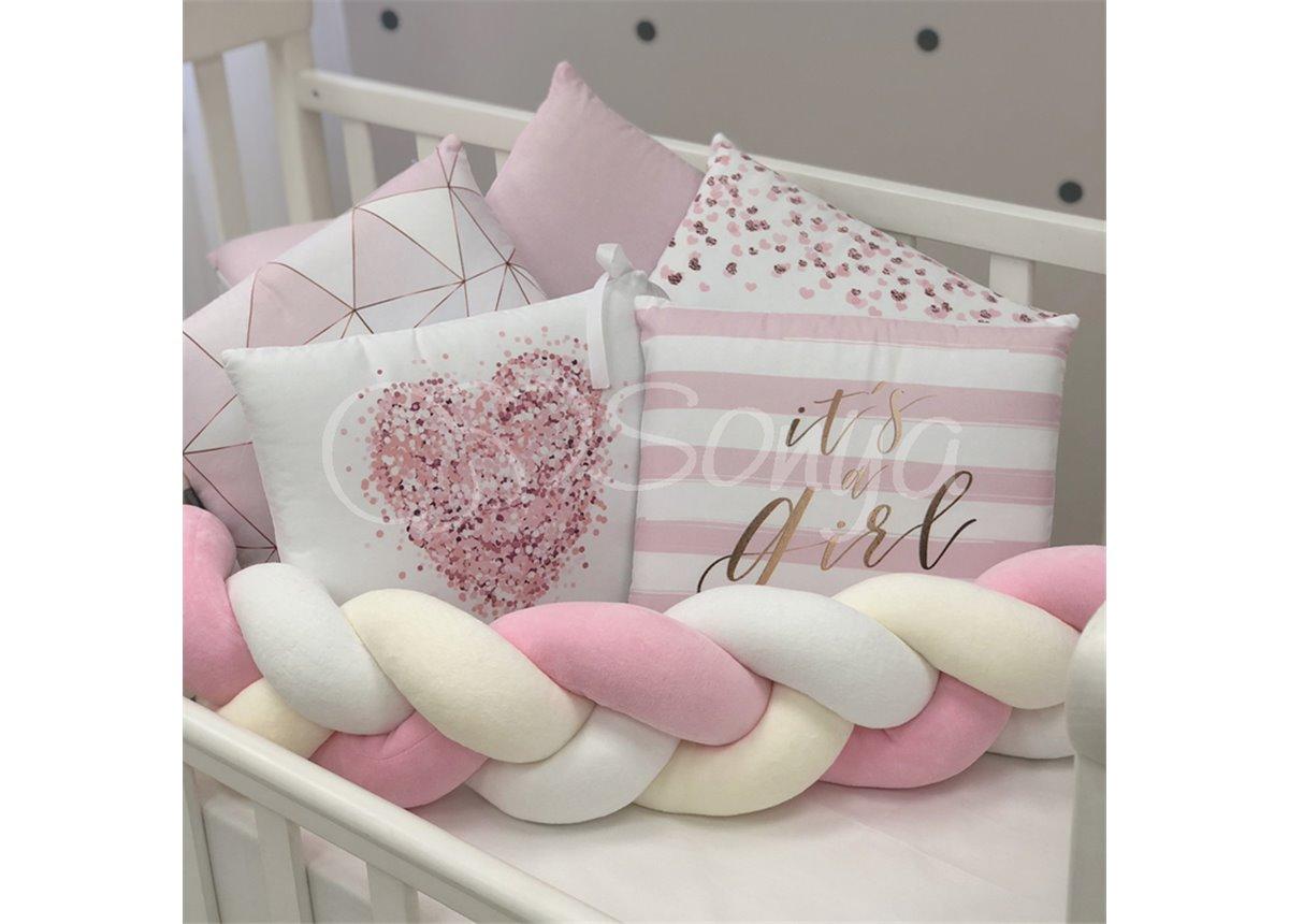 Бортики Art Desing + Коса + простынь Геометрия розовый Маленькая Соня