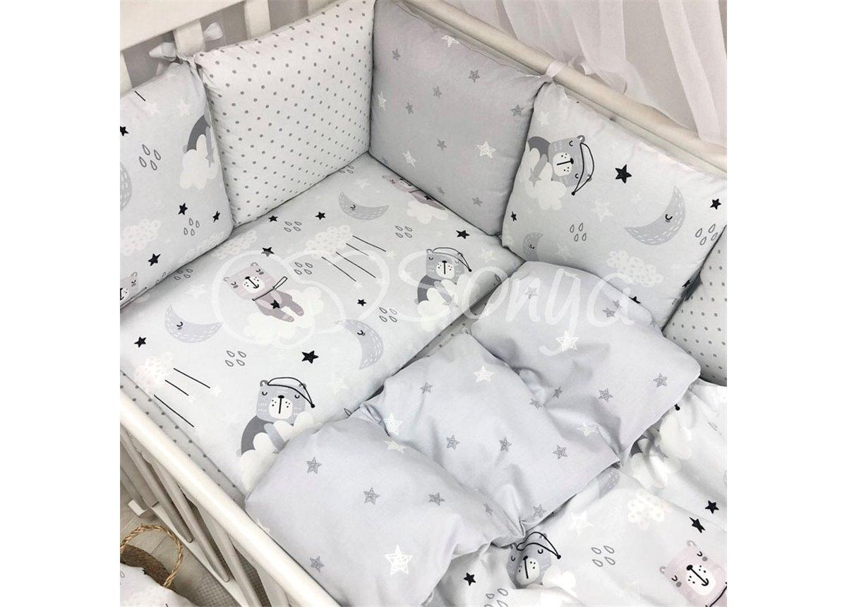 Бортики Baby Design Коты в облаках серый Маленькая Соня