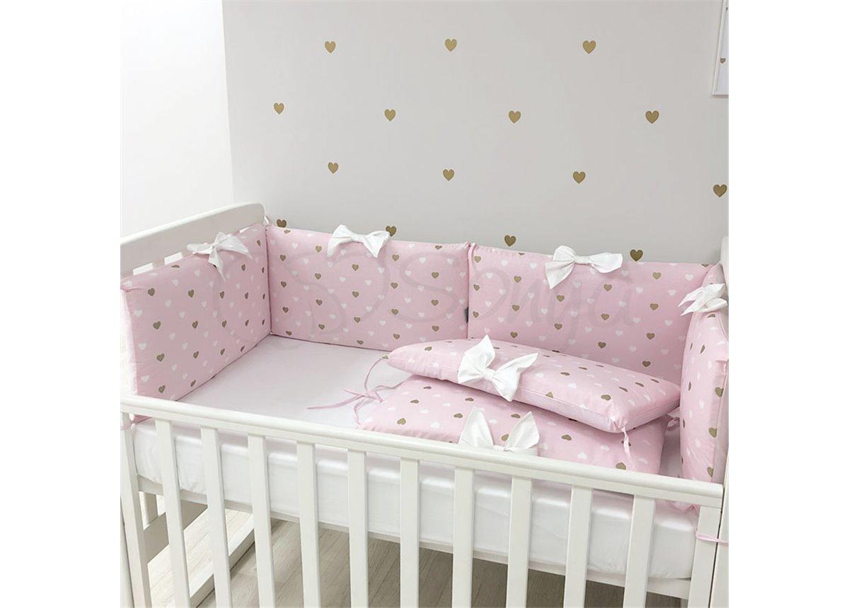 Бортики Happy Baby+ простынь розовый Маленькая Соня