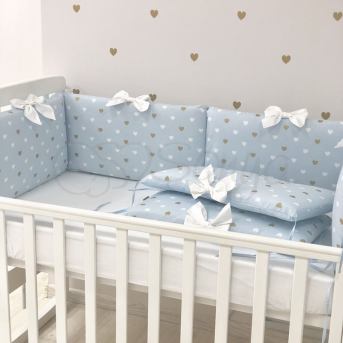 Бортики Happy Baby+ простынь голубой Маленькая Соня