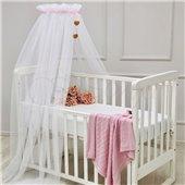 Балдахин Happy Baby белый с розовой лентой Маленькая Соня