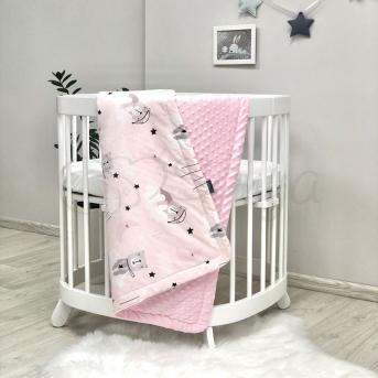 Плед Minky Коты в облаках розовые 80х100 Маленькая Соня