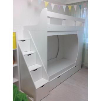 Кровать детская двухъярусная с ящиками и лестницей-комодом (ал19) Fimebel 80x190