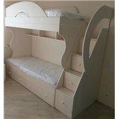 Детская двухъярусная кровать с лестницей-комодом (ал5-3) Мерабель 80x190