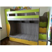 Детская двухъярусная кровать с лестницей-комодом (ал5-2) Мерабель 80x190