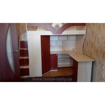 Детская кровать-чердак с рабочей зоной, угловым шкафом, тумбой и лестницей-комодом (кл27) Мерабель 80x190