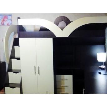 Детская кровать-чердак с рабочей зоной, шкафом, ящиками и лестницей-комодом (кл34) Fimebel 80x190
