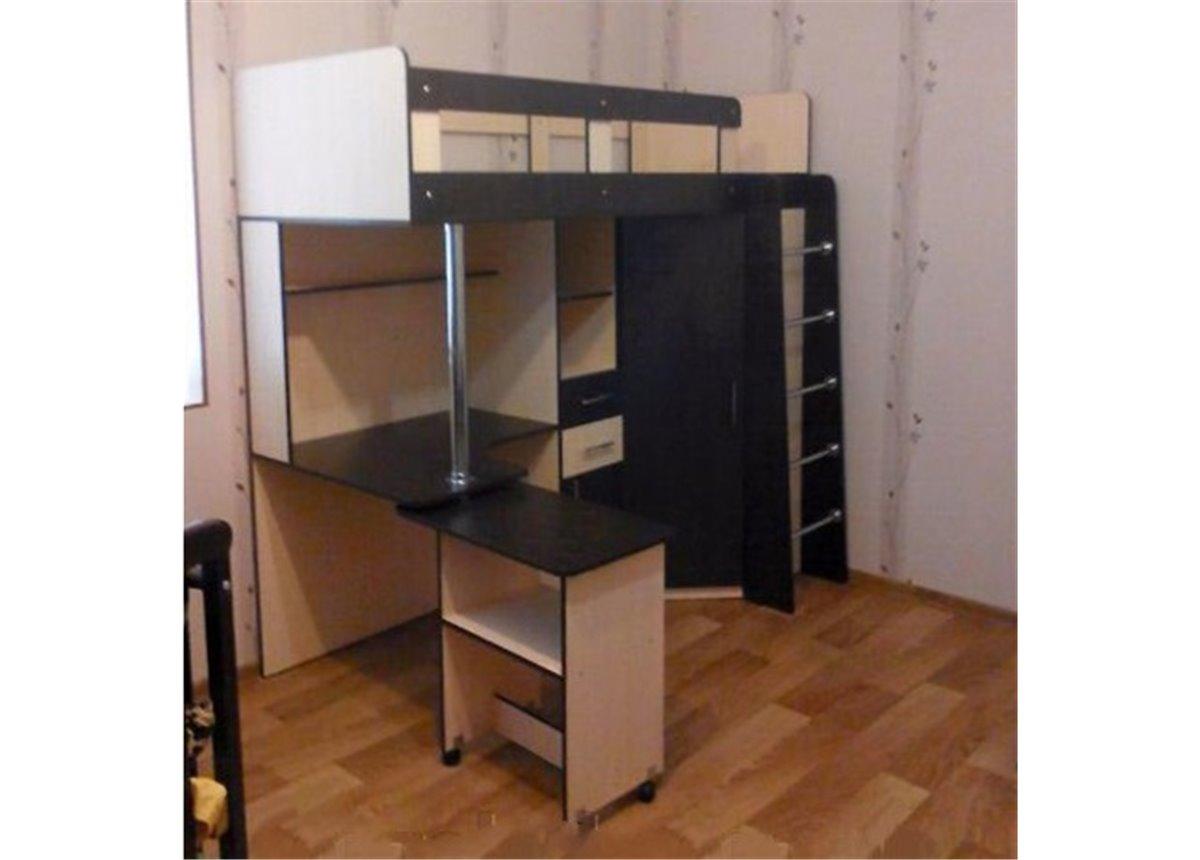 Кровать-чердак с выдвижным столом и угловым шкафом (к1-4) Fimebel 80x190