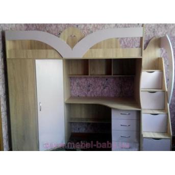 Кровать-чердак с рабочей зоной, угловым шкафом и лестницей-комодом (кл28-2) Fimebel 80x190