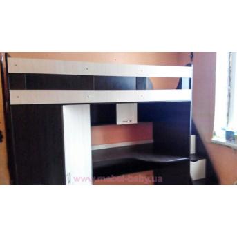 Кровать-чердак с рабочей зоной, угловым шкафом и лестницей-комодом (кл29) Fimebel 80x190