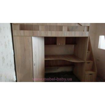 Кровать-чердак с рабочей зоной, угловым шкафом и лестницей-комодом (кл29-2) Мерабель 80x190