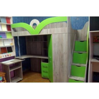 Кровать-чердак с рабочей зоной, угловым шкафом и лестницей-комодом (кл6-10) 80x190 Мерабель