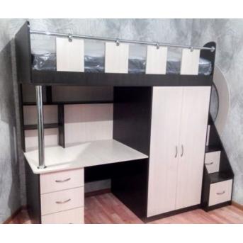 Кровать-чердак с рабочей зоной, шкафом и лестницей-комодом (кл23) Мерабель 80x190
