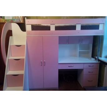 Кровать-чердак с рабочей зоной, шкафом и лестницей-комодом (кл31) Fimebel 80x190