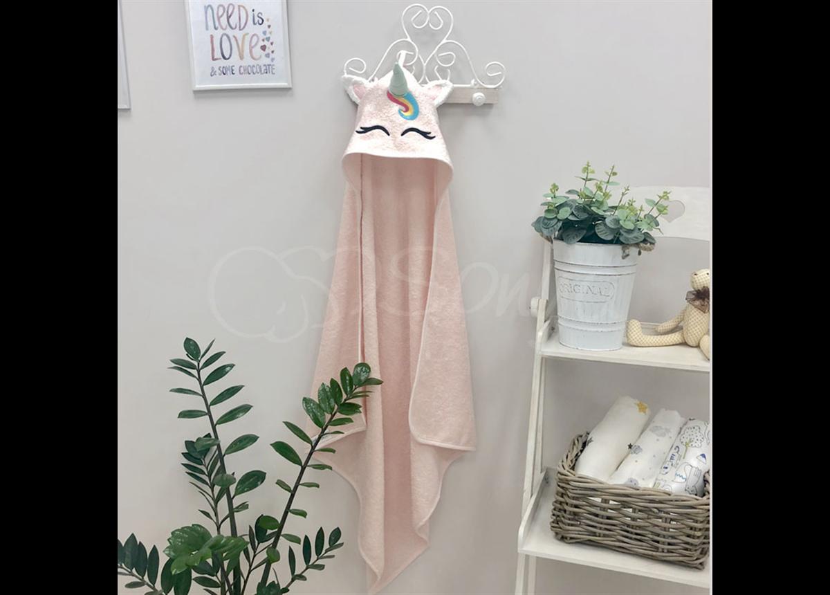 Полотенце-уголок Единорог розовый 80x80 Маленькая Соня