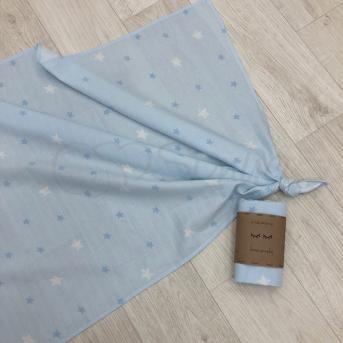 Пеленка муслин Маленькая Соня 75х100 звезды на голубом