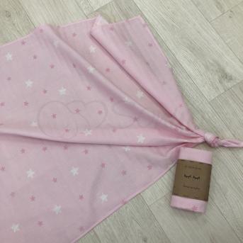 Пеленка муслин Маленькая Соня 75х100 звезды на розовом