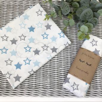 Пеленка бязь Маленькая Соня 80х100 звезды серо-голубые на белом