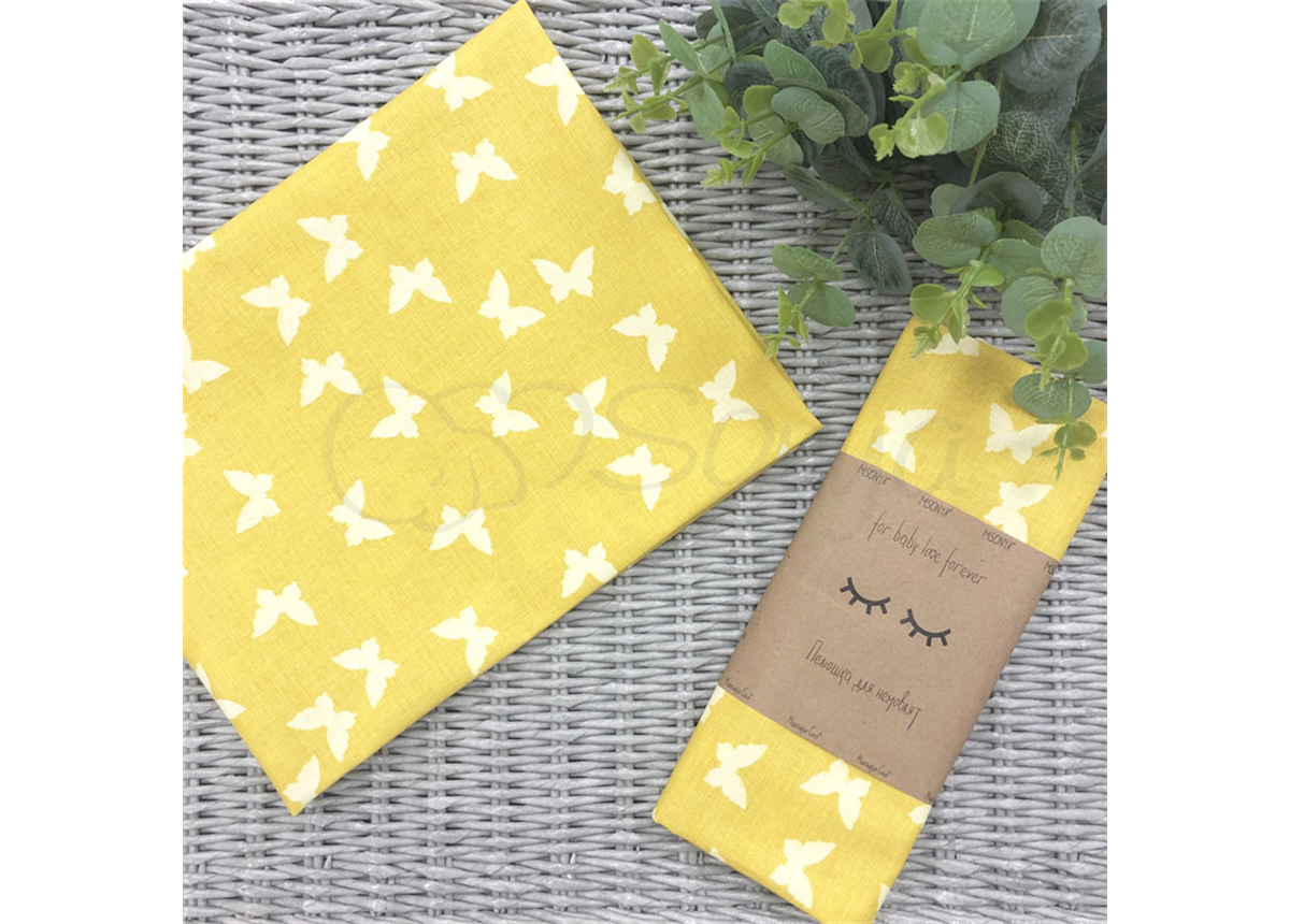 Пеленка бязь Маленькая Соня 80х100 белые бабочки на желтом