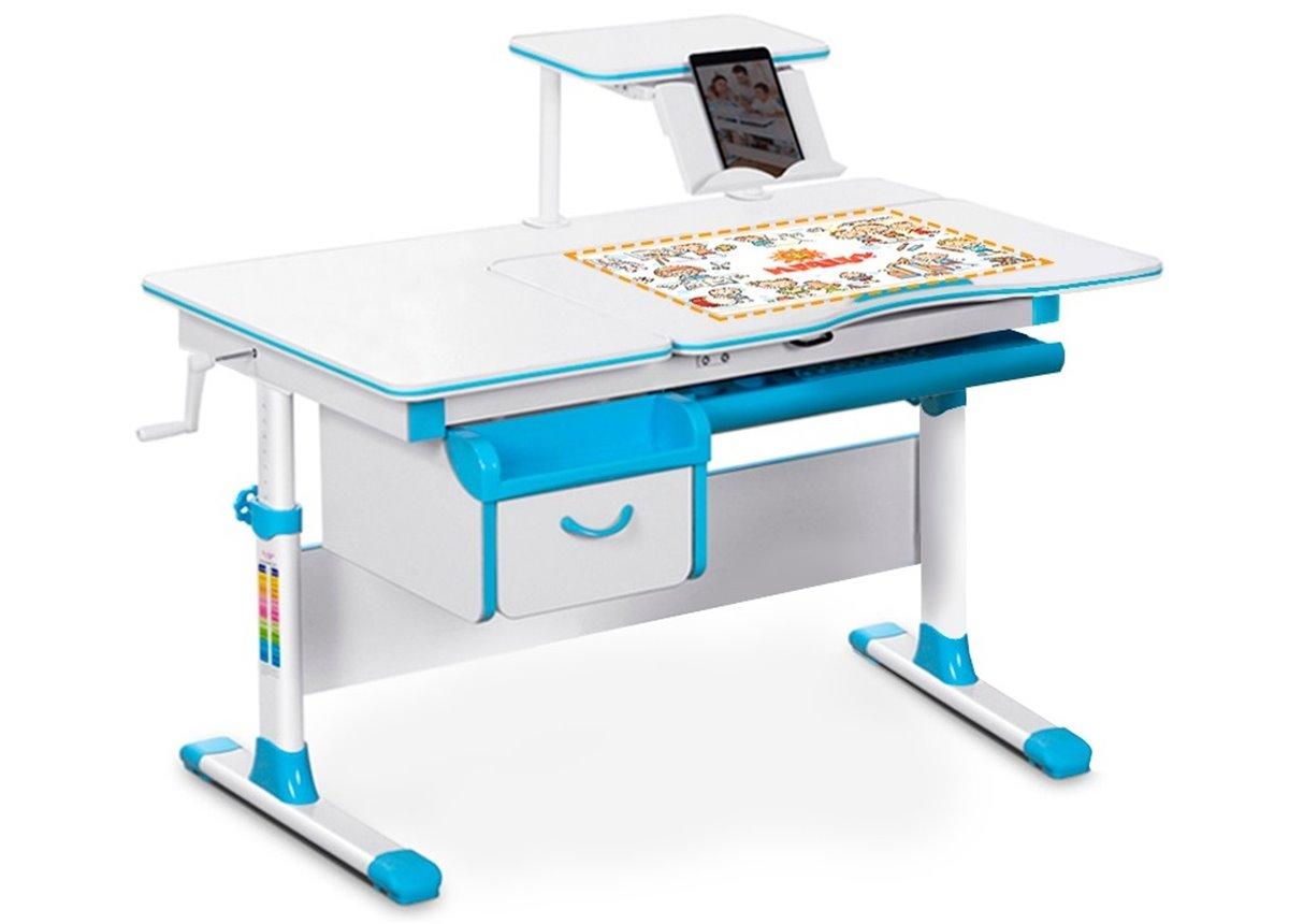 Детский стол (стол+ящик+надстройка) Evo-40 голубой Evo-kids