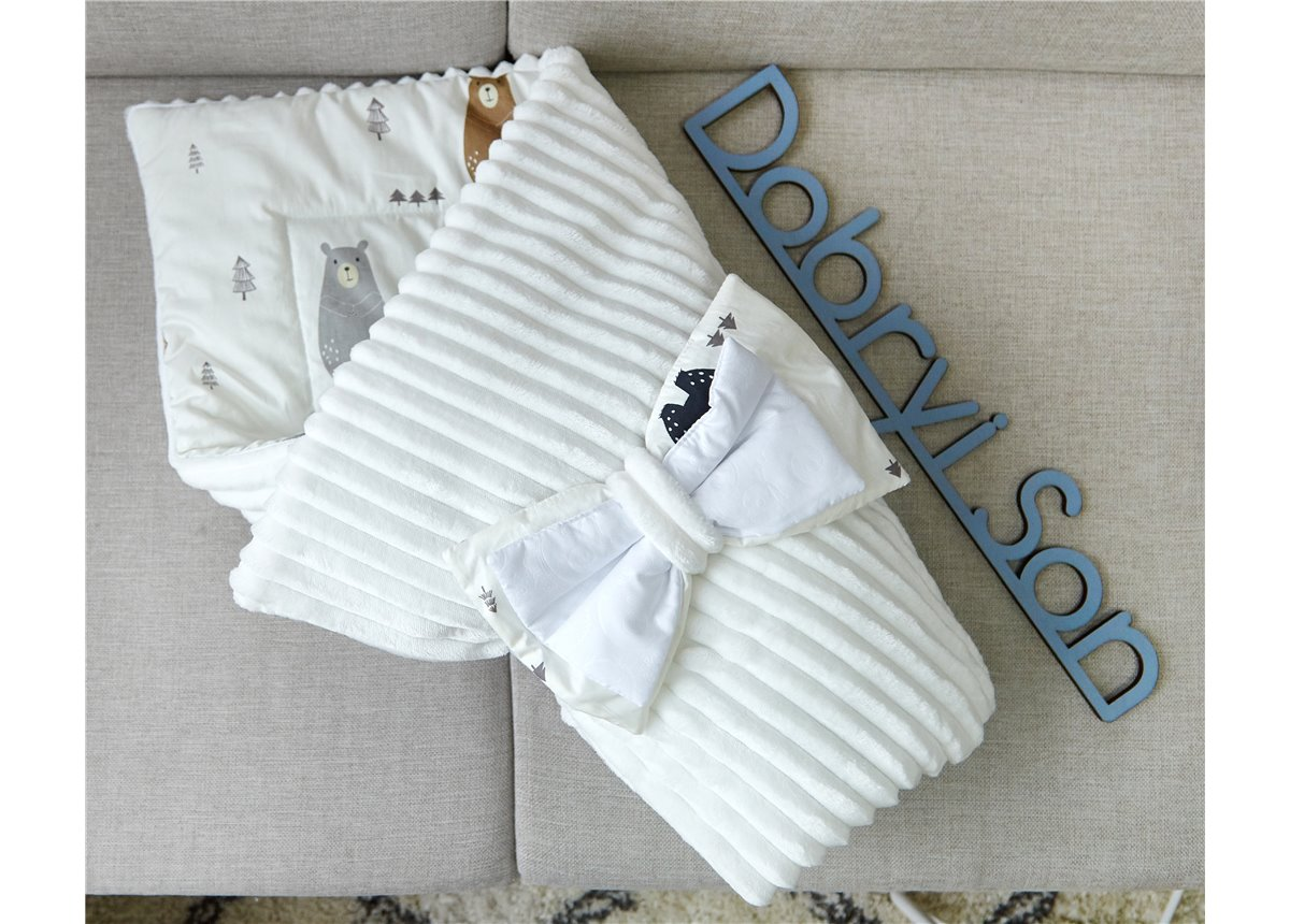 Конверт-одеяло Сатин+плюш Stripes Медведи Добрый Сон
