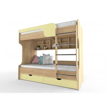 Двухьярусная кровать МДФ лестница спереди НИТ 80x190 Fmebel