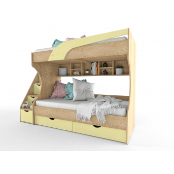 Двухьярусная кровать с ящиками-ступеньками НИТ  80x190 Fmebel