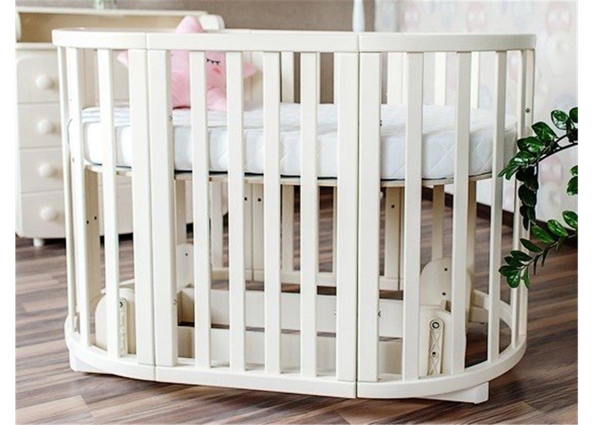 Кроватка детская круглая трансформер Angelo 72x120 крем с маятниковым механизмом