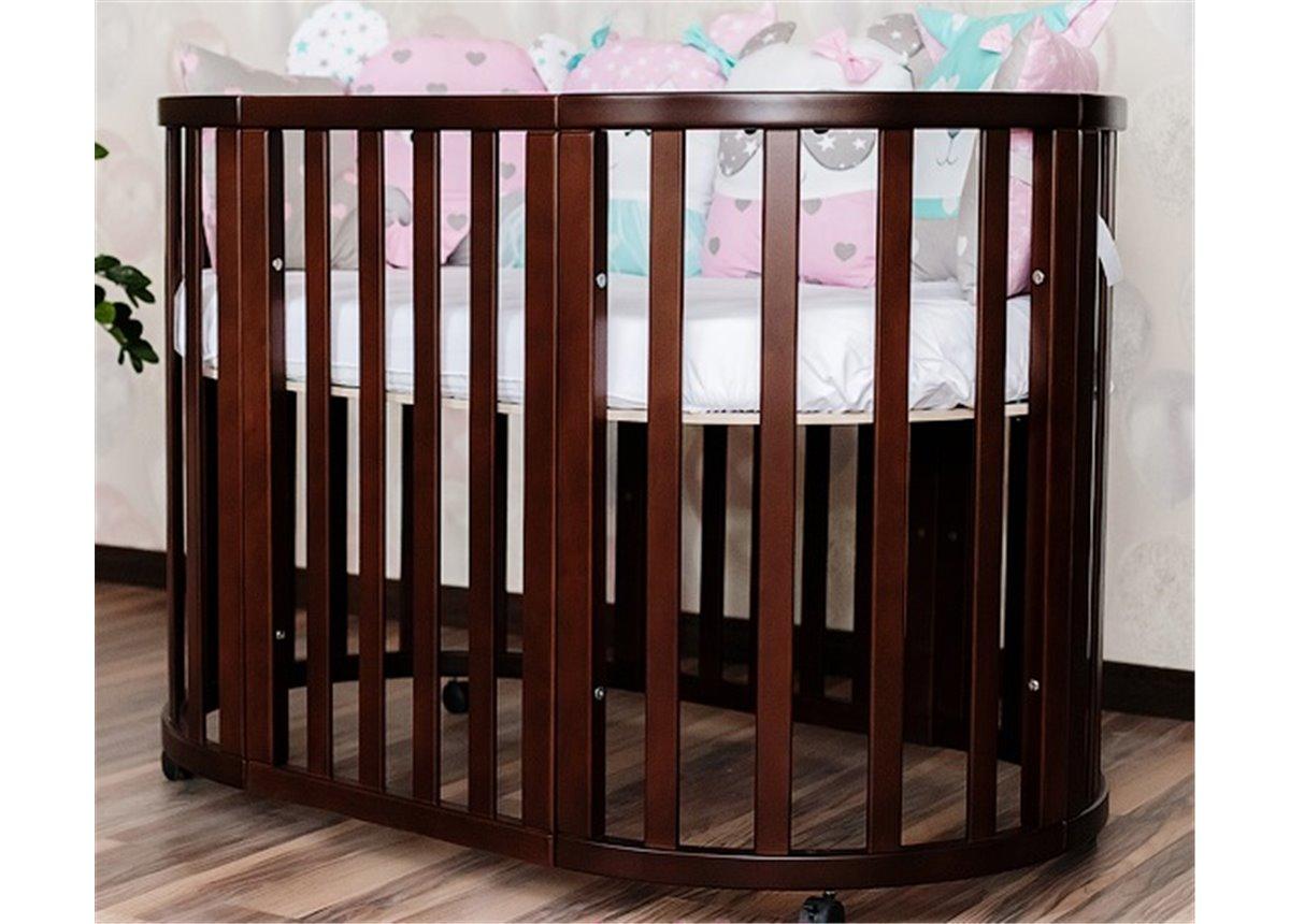 Кроватка детская круглая трансформер Angelo 72x120 орех с маятниковым механизмом