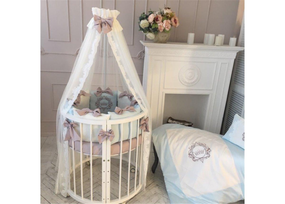 Комплект Elegance голубой (7 предметов) для круглых кроваток Маленькая Соня