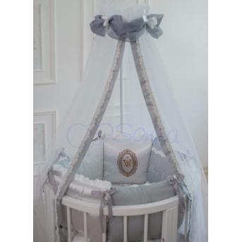 Комплект Mon cheri серый (7 предметов) для круглых кроваток Маленькая Соня