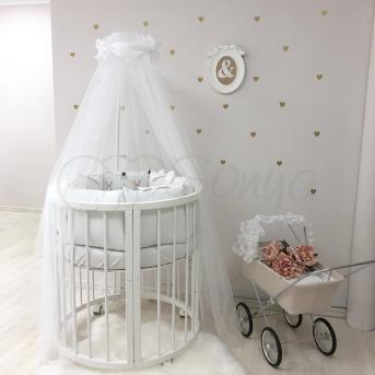 Комплект Shine Алиса (6 предметов) для груглых кроваток Маленькая Соня белый