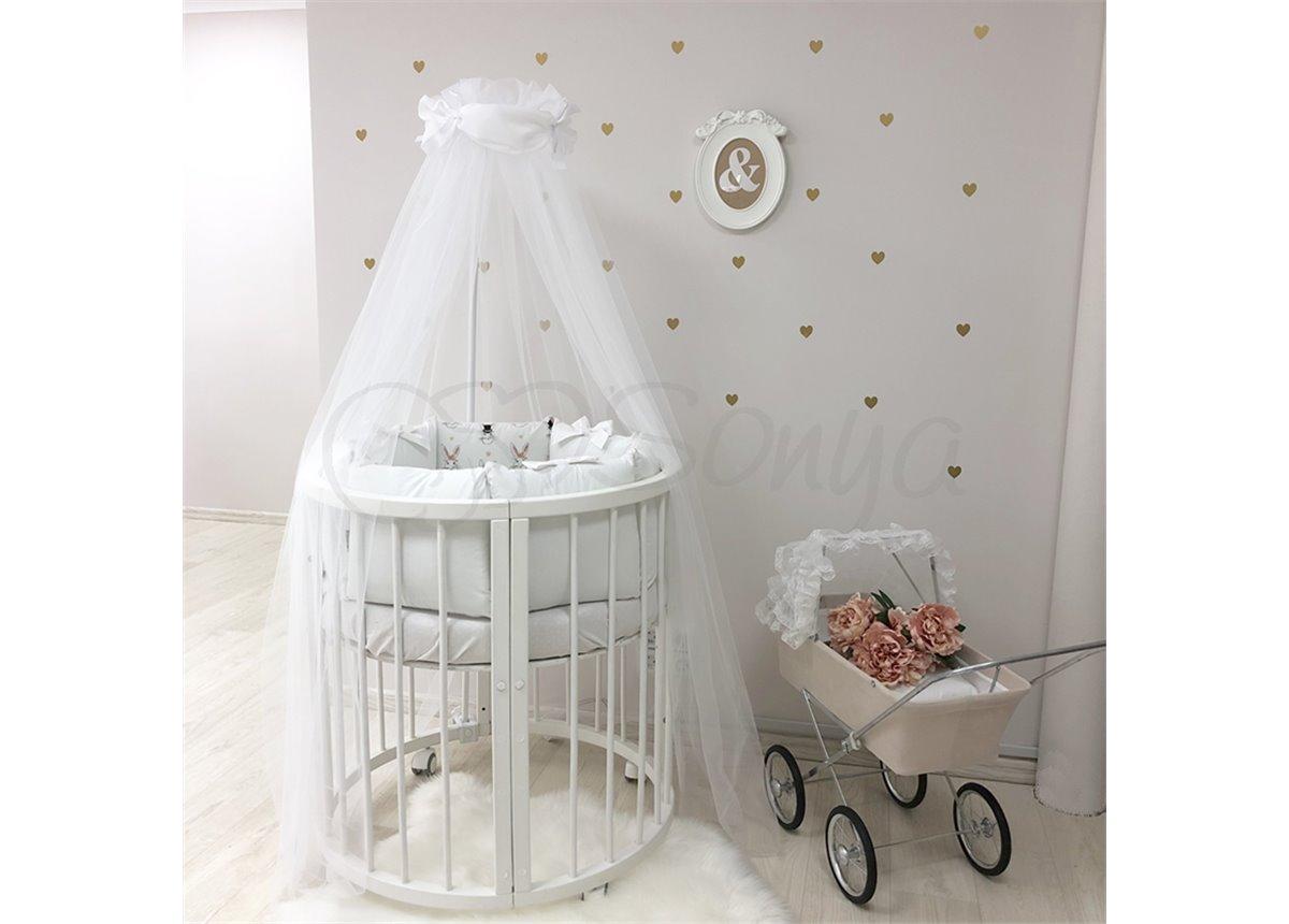 Комплект Shine Алиса (7 предметов) для круглых кроваток Маленькая Соня белый