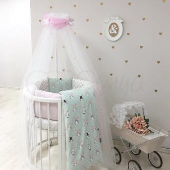 Комплект Shine Алиса (6 предметов) для круглых кроваток Маленькая Соня мятный