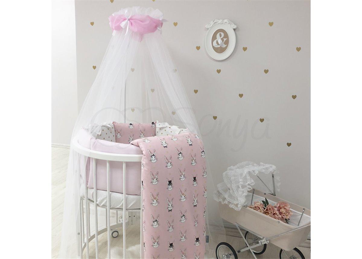 Комплект Shine Алиса (6 предметов) для круглых кроваток Маленькая Соня розовый